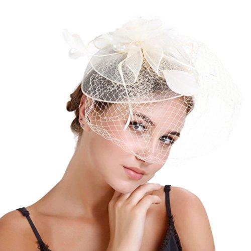 Yujeet Forma Floral Sombreros Y Tocados De Mujer Con Velo De Moda Diadema Transparente Headwear Novia Para La Boda Cocktail Party Beige One Size