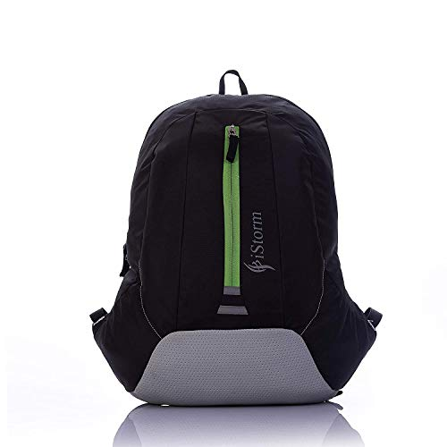 iStorm Polyester King Maker Black & Grey + Green Zip Light Weight Casual School College Backpack Bag (Black & Grey)