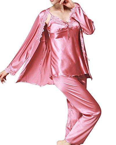 Damen Klassische Spitze Seide Pyjama 3 Piece Set Sleepwear Homewear Schlafanzug Koralle Rot XL