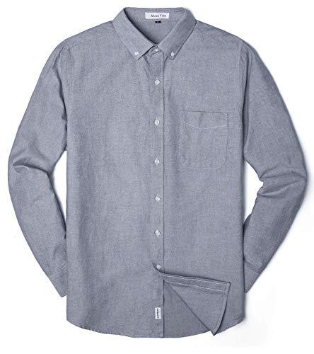 MUSE FATH Men's Oxford Dress Shirt-Cotton Casual Long Sleeve Shirt-Button Down Wedding Dress Shirt-Light Grey with Pocket-XL