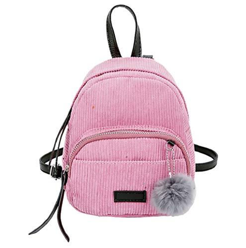 Cord Rucksack, Retro Casual Schulrucksack für Mädchen im Teenageralter, Solider Rucksack, leicht, wasserabweisend, mit Hairball für Mädchen Frauen TWBB