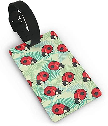 Ladybug Tropics Leaf Red Bug Art Funny Themed Printed Rolling Airplane Lage etiqueta identificador de maleta de viaje, etiquetas duraderas para mujeres, hombres, niños y equipajes