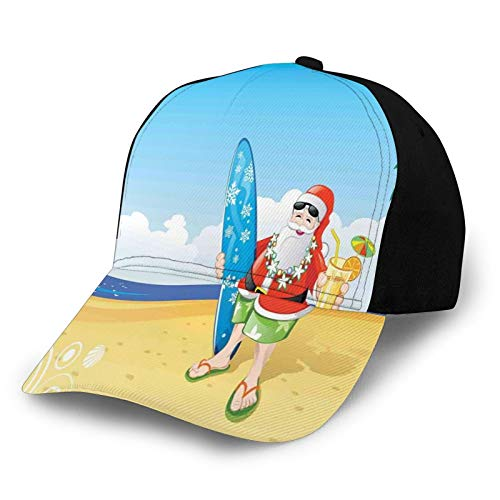 FULIYA Gorra de béisbol estructurada, Santa Claus en la playa con tabla de surf, fiesta de verano, decoración de arte tropical, sombrero para papá, se adapta a hombres y mujeres, perfil bajo ajustable