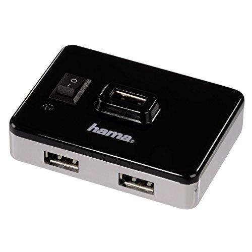 Hama 4 Port USB 20 Hub mit Netzteil und Ein Ausschalter kompatibel auch mit Windows 10 schwarzsilber