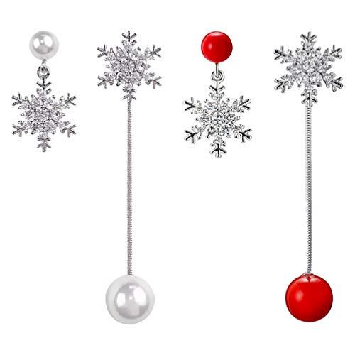 BESPORTBLE 2 Paia Orecchini Pendenti con Fiocchi di Neve di Natale Orecchini Pendenti con Perle Orecchini Set di Gioielli Natalizi Orecchini Pendenti con Gocce di Natale Regali per Il