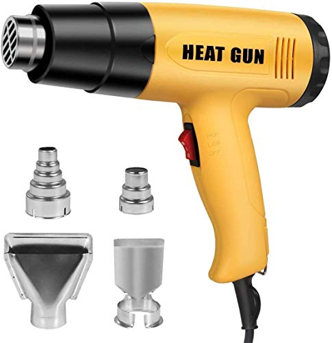Heat Gun, 1600W Heavy Duty Hot Air Gun Kit with 2-Temp Settings 4 Nozzles, Temperature Heat Gun Kit for Crafts, Shrinking PVC, Tubing, Paint Removal