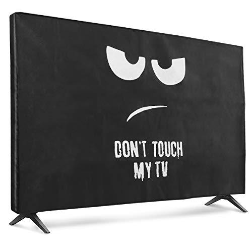 """kwmobile Funda para Monitor 55"""" TV - Cubierta Protectora No toques mi TV en Blanco/Negro"""