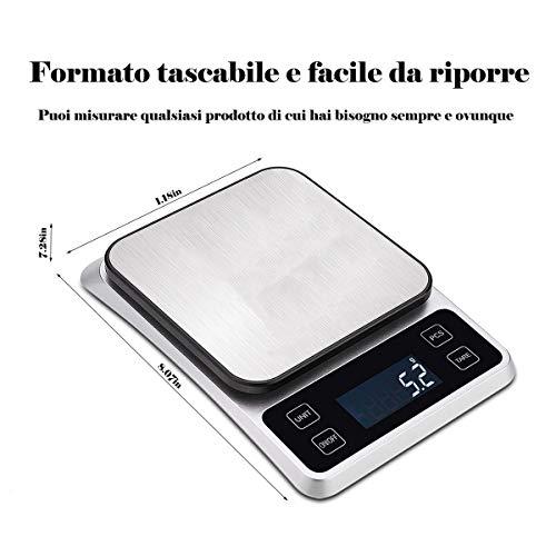 Balance de cuisine numérique intelligente, balance électronique de 5 kg/11 lb, haute précision de 0,1 g, écran LCD HD rechargeable par USB, convient pour la maison et la cuisine