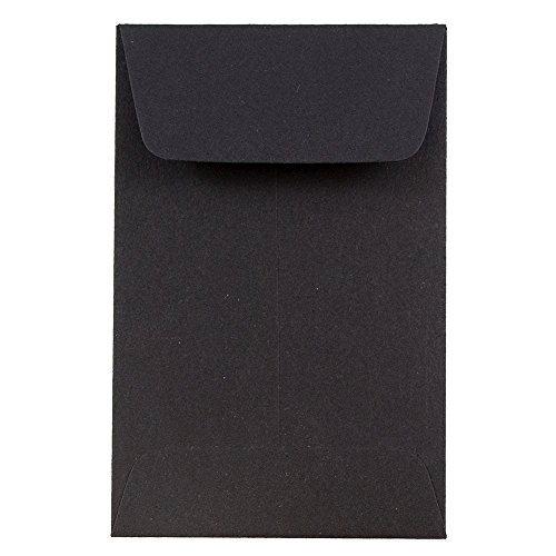 JAM PAPER #1 Coin Business Envelopes - 2 1/4 x 3 1/2 - Smooth Black - 50/Pack