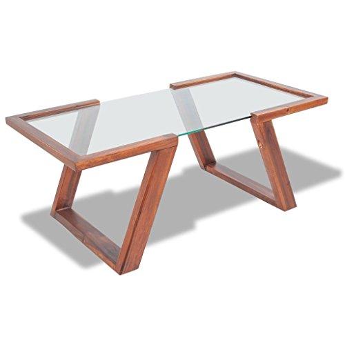 Lingjiushopping Table Basse en Bois Massif d'acacia 100 x 50 x 40 cm m ¨ n épaisseur du Verre : 8 mm Couleur : MARR ¨ n