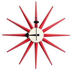 MLF George Nelson Sunburst Clock in Red Color, Mid Century Designed Antique Retro Wall Clock for Living Room, Dining Room, Kitchen etc. (All Nelson Series Available)