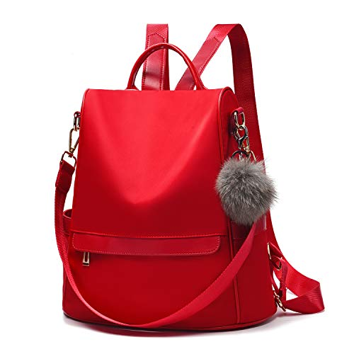 Women Backpack Purse Nylon Anti-theft Fashion Casual Lightweight Travel School Shoulder Bag(Red)
