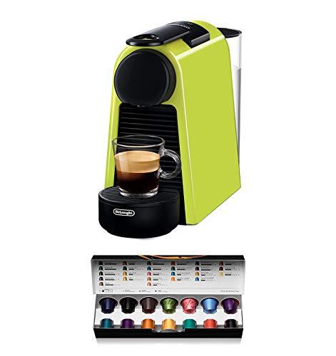 Nespresso De'Longhi Essenza Mini EN85.L - Cafetera monodosis de cápsulas Nespresso, compacta, 19 bares, apagado automático, color lima, 1, Incluye pack de bienvenida con 14 cápsulas