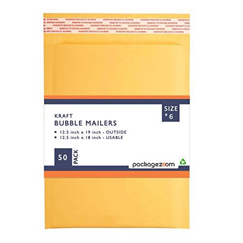 PackageZoom #6 12.5 x 19 Padded Envelopes Kraft Bubble Mailer Shipping Envelopes 50 Pack
