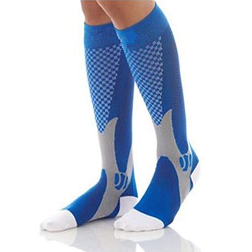 Egurs Compression Socks (20-30mmHg) für Herren & Damen Beste Strümpfe für Krankenschwestern, Mutterschaft, Reisen, Laufen, Beinlinderung, Schwellung, Wadenschmerzen blau S/M