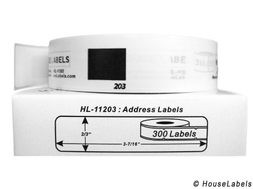 "Houselabels 4 Rolls; 300 Labels per Roll of HouseLabels Compatible with Brother DK-1203 Address Labels (2/3"" x 3-7/16""; 17mm87mm) - BPA Free!"