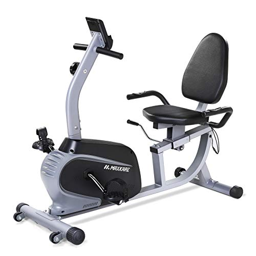 MaxKare Recumbent Exercise Bike Indoor Cycling Stationary Bike with Adjustable Seat and Resistance, Pulse Monitor/Phone Holder (Seat Height Adjustment by Lever) by MaxKare