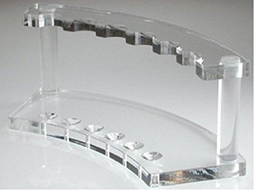 Pen Display Holder Clear Stand Rack Shelf for Makeup Brushes, Ballpoint, Nail Brushes, E-Cigarette, Vape Pens, Spoons, Pencils 6 Slots