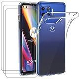 ivoler Funda para Motorola Moto G 5G Plus + 3 Unidades Cristal Templado, Transparente TPU Silicona Anti-Choque Anti-arañazos [Carcasa + Vidrio Templado] Protector de Pantalla y Caso