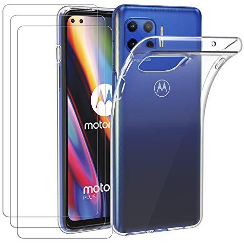 ivoler Hülle für Motorola Moto G 5G Plus, mit 3 Stück Panzerglas Schutzfolie, Dünne Weiche TPU Silikon Transparent Stoßfest Schutzhülle Durchsichtige Handyhülle Kratzfest Hülle