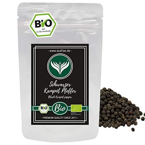 Azafran BIO Schwarzer Kampot Pfeffer (Pfefferkörner ganz) Gourmetpfeffer 100g
