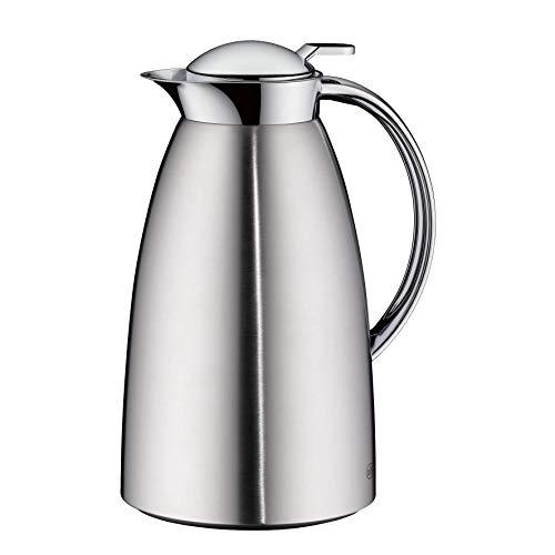 alfi Thermoskanne Gusto, Edelstahl mattiert 1L, alfiDur Glaseinsatz, auslaufsicher, Isolierkanne hält 12 Stunden heiß, 3562.205.100 ideal als Kaffeekanne oder als Teekanne, Kanne für 8 Tassen
