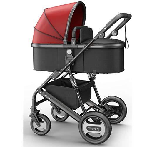JIAX Baby kinderwagen, converteerbare ligstoel, opvouwbaar en draagbaar kinderwagenvervoer anti-Shock kinderwagen met stalen pijpframe, 5-punts harnas en hoge capaciteit mand (zwart)