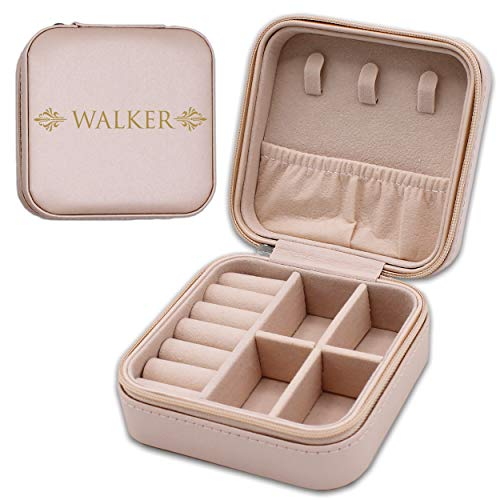 My Personal Memories Custom Personalized Mini Travel Jewelry Box Holder Case - Engraved and Monogrammed (Pink)