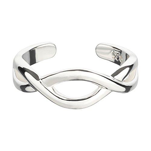 Zehenring aus 925 Sterling Silber als Fußschmuck oder Fingerring für Damen, Herren und Kinder, offener Midi Ring, verstellbar, Modell 27 Infinity