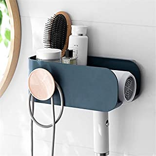 Support de sèche-Cheveux Mural Support étagère de Rangement en Plastique Cuisine Salle de Bain Organisateur sèche-Cheveux ...