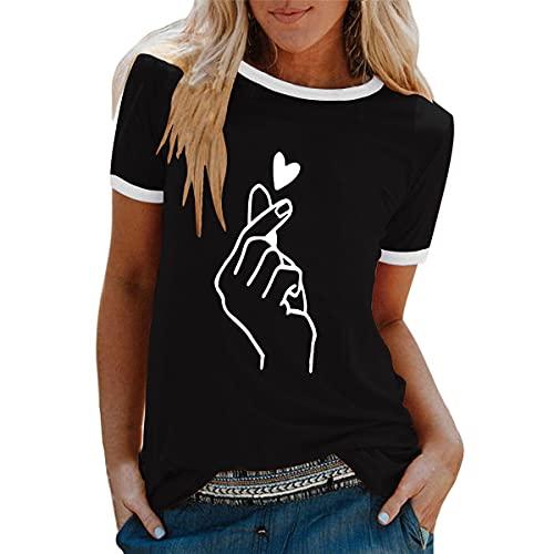 Tomwell Camiseta de Mujer Manga Corta Corazón Impresión Blusa Camisa Cuello Redondo Basica Camiseta Suelto Verano Tops Casual Fiesta T-Shirt Moda tee H Negro M