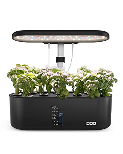 iDOO Hydroponics Growing System for Window Kitchen, 10Pods Indoor Herb Garden with Grow Light, Plants Germination Kit with Pump, Automatic Timing, Up to 18.7'