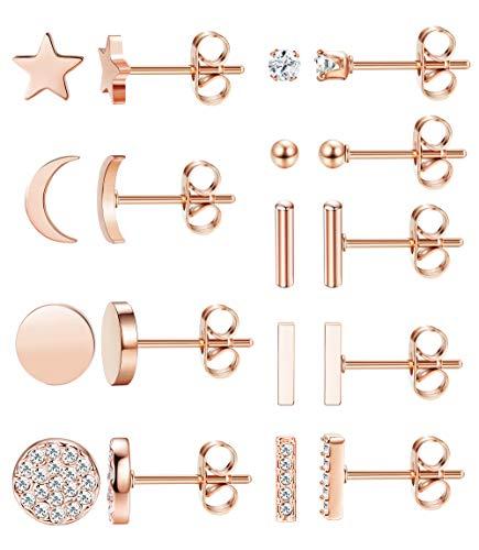 FIBO STEEL 9 Pairs Stainless Steel Star Moon Stud Earrings for Women Cute Bar CZ Stud Earring Set Rose Gold