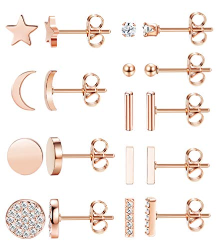 FIBO STEEL 9 Pairs Stainless Steel Star Moon Stud Earrings for Women Cute Bar CZ Stud Earring Set Rose Gold