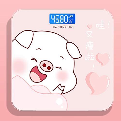 B/H Básculas de baño Inteligentes Digitales,Balanza electrónica-Pink Pig_USB Cargando,Peso Digital Inteligente