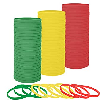 Muka 100 PCS Stretchable Silicone Bracelets Elastic Thin Bands Birthday Gifts - Red Yellow Green