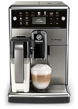 Saeco PicoBaristo Deluxe SM5573/10 - Máquina espresso automática de acero inoxidable con jarra de leche y botones táctiles