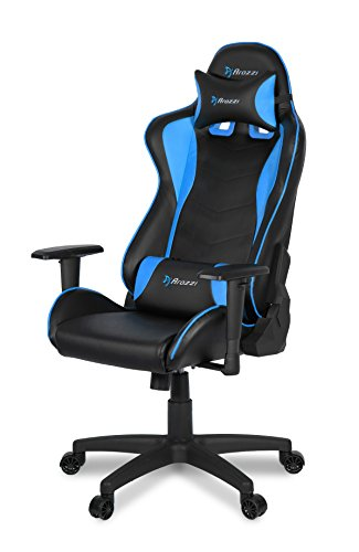Arozzi Mezzo V2 Gaming Stuhl, Lederimitat, Blau, 53 x 50 x 137 cm