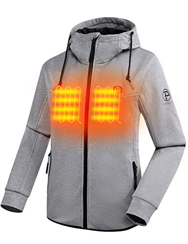 PTAHDUS Women's Heated Hoodie with 7.4V Battery Heated Sweatshirt with Hood, with Fleece Lining...