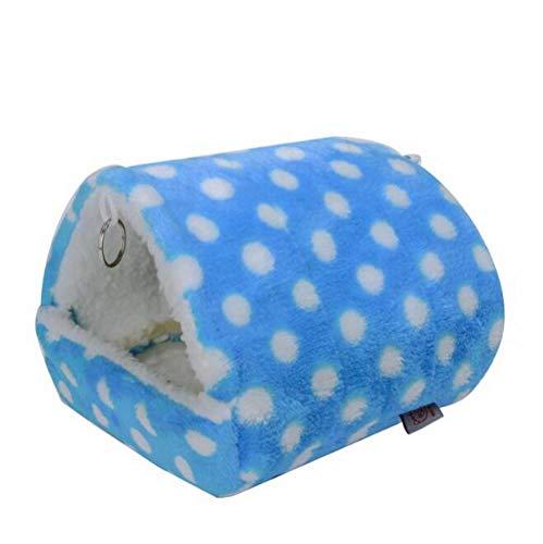 EPRHAN Hamster Hamster Hamster de algodón para colgar casa de invierno lindos animales pequeños Jaula Jaula Jugando Dormir Nido Mascotas Cama Rata Juguetes Swing Cobaya Ardilla Gerbos Jaula, Azul