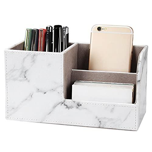 otutun Organizador de escritorio,Caja de almacenamiento de Escritorio de cuero PU,3 compartimentos multifuncional Portalápices para teléfono portátil/grapadora/mando distancia/llaves oficina