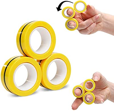 AKKO 3PCS Magnetic Fidget Rings-Finger Toys Durable Unzip Relieve Anxiety,Decompression Magnetic Magic Ring,Hand Spinners Tools with Bearing-Yellow from AKKO