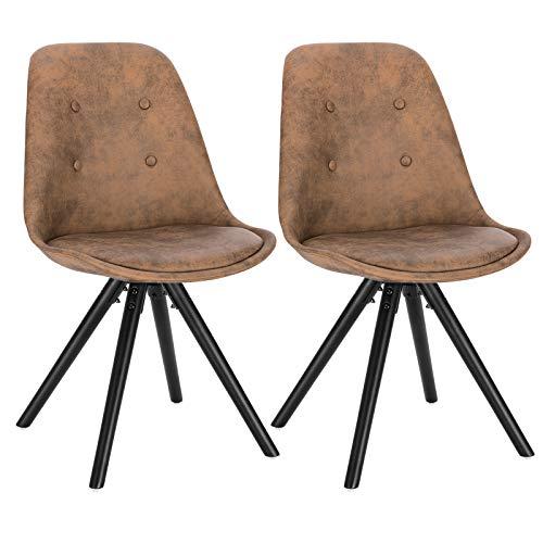 WOLTU® BH268dbr-2 2 x Esszimmerstühle 2er Set Esszimmerstuh, Sitzfläche aus Stoffbezug, Design Stuhl, Küchenstuhl, Holzgestell, Antiklederoptik Dunkelbraun