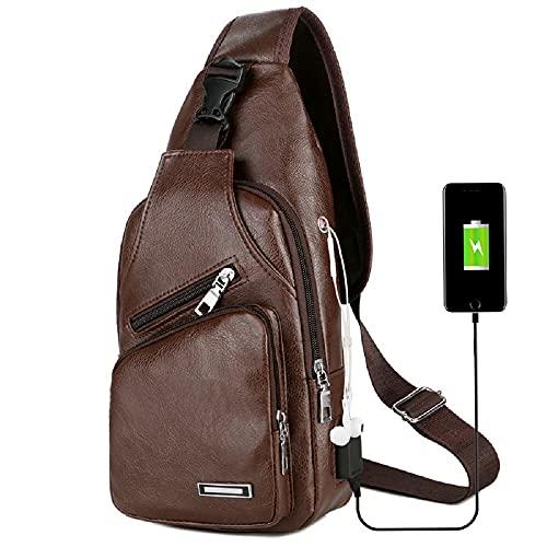 XIHUANNI Mochila bandolera para hombre, de piel, con carga USB, portátil, vintage, para viajes, senderismo, trabajo y ciclismo