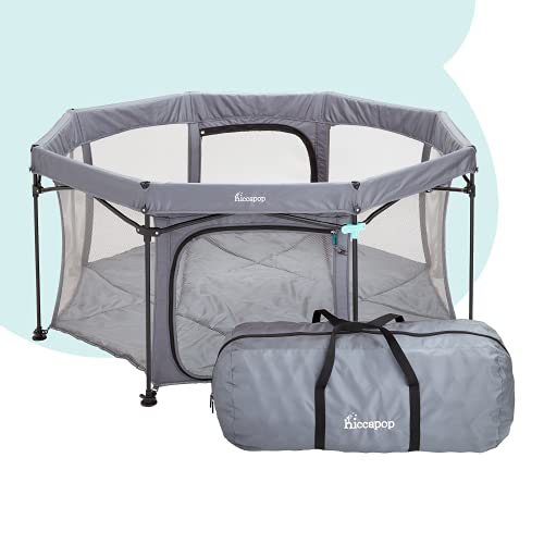 """hiccapop XL 69"""" PlayPod Deluxe Portable Playpen for Babies and Toddlers, Portable Play Yard for Baby with Padded Floor 