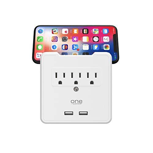 Monster PWS321 - Grifo de Pared con 3 Salidas USB y Soporte para teléfono y Tablet, Color Blanco