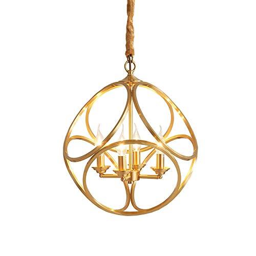 CRYGD Metalen globe kroonluchter, kopermateriaal verlichting hang, 4 lichtbolletjes hangende verlichting bevestiging voor eetkamer, slaapkamer, entryway