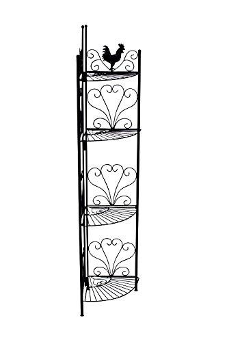 CLP Etagère d´Angle Marie, Étagère d'Angle en Fer Forgé, Étagère de Rangement Repliable avec 4 Surfaces de Rangement, Dimensions : 151 x 31 cm, 2 Couleurs au Choix Noir