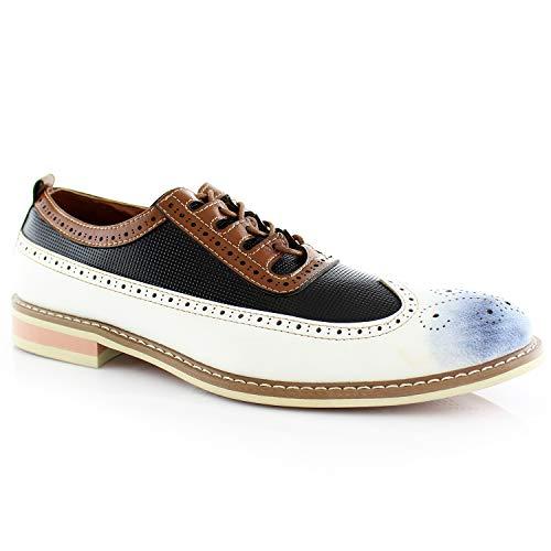 Ferro Aldo Josh MFA19278 Men's Casual Two Tone Perforated Classic Brogue Wingtip Dress Shoes - White, Size 9.5