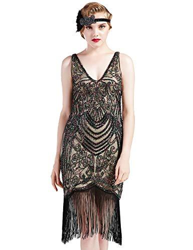 Coucoland sukienka z frędzlami w stylu lat 20. XX wieku sukienka do tańca w stylu vintage z dekoltem w serek ryczące lata 20-te fantazyjna sukienka z cekinami bez rękawów Gatsby kostium seksowna sukienka wieczorowa